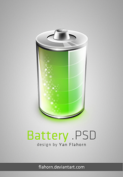 picture of glowing green battery