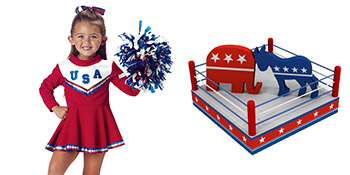 little girl in USA red white and blue cheerleader uniform with a pompom and a boxing ring with the red Republican elephant fighting the blue Deomcratic donkey