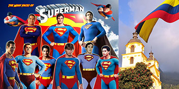 the many faces of Superman in costume and the Colombian flag flying over Bogota, Colombia