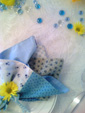 Blue Quilted Napkins for Baby Shower with Yellow Daisies