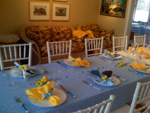 Blue and Yellow Rubber Duckie Baby Shower Table Setting