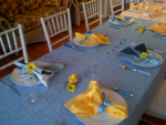 Blue and Yellow Rubber Duckie Baby Shower Table Setting with Daisies